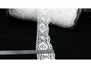 Памучна дантела, 6 см ширина, цвят - бял